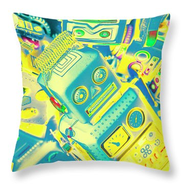 From A Mechanised Design Throw Pillow