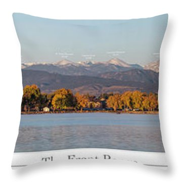 Front Range With Peak Labels Throw Pillow