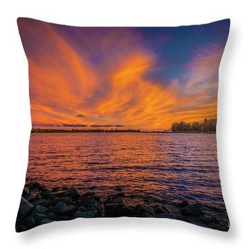 Frontenac Ferry Sunset Throw Pillow