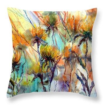 Frozen Chrysanthemums Throw Pillow