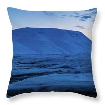 frozen coastline near Longyearbyen Throw Pillow