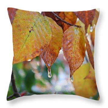 Icy Foliage Throw Pillow