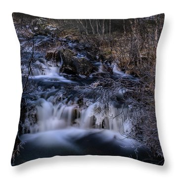 Frozen River In Forest - Long Exposure With Nd Filter Throw Pillow