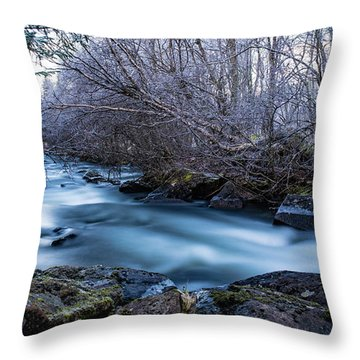 Frozen River Surrounded With Trees Throw Pillow