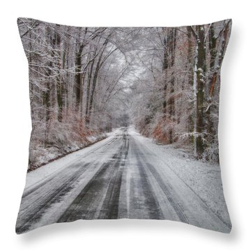 Frozen Road Throw Pillow