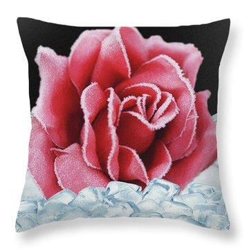 Frozen Rose Throw Pillow
