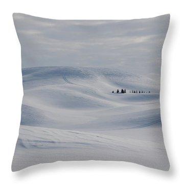 Frozen Winter Hills Throw Pillow