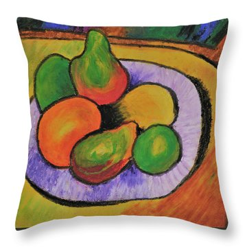 Throw Pillow featuring the tapestry - textile Fruit Bowl After Cezanne by Howard Bagley