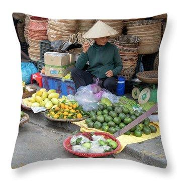 Fruit Market Woman 2, Vietnam Throw Pillow