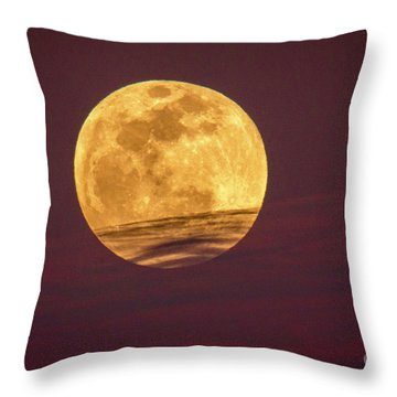 Full Moon Above Clouds Throw Pillow