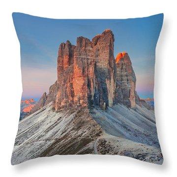 Full Moon Morning On Tre Cime Di Lavaredo Throw Pillow