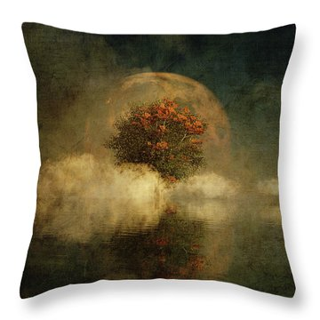 Throw Pillow featuring the digital art Full Moon Over Misty Water by Jan Keteleer