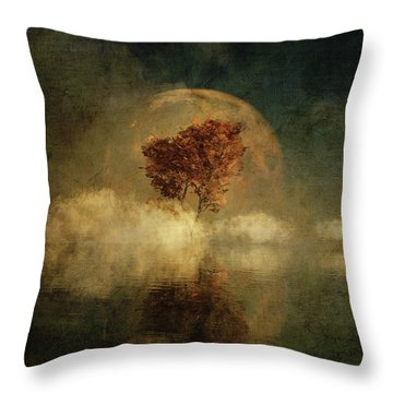 Throw Pillow featuring the digital art Full Moon Over Water by Jan Keteleer