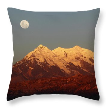 Full Moon Rise Over Mt Illimani Throw Pillow