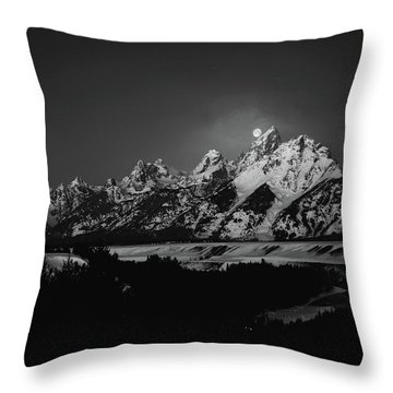 Full Moon Sets In The Tetons Throw Pillow