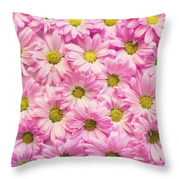 Full Of Pink Flowers Throw Pillow