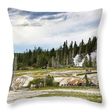 Throw Pillow featuring the photograph Fuming Geysers In Yellowstone National Park by Tatiana Travelways