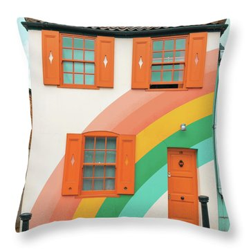Funky Rainbow House Throw Pillow