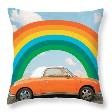 Funky Rainbow Ride Throw Pillow