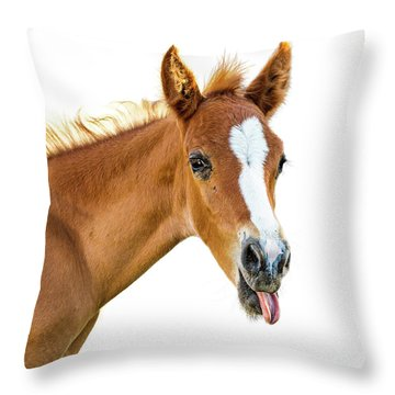 Funny Baby Horse Sticking Tongue Out Throw Pillow