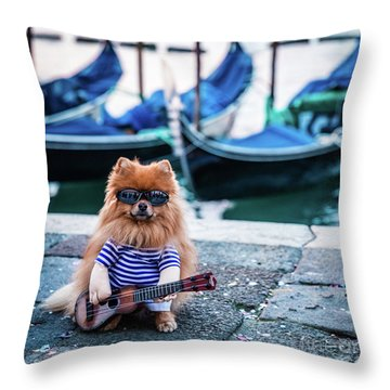 Funny Dog At The Carnival In Venice Throw Pillow