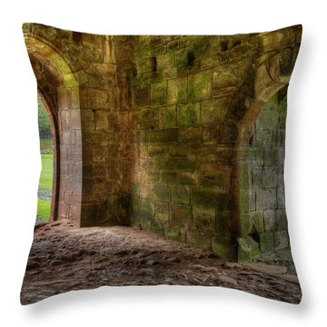 Throw Pillow featuring the photograph Furness Abbey Arches by Dennis Dame