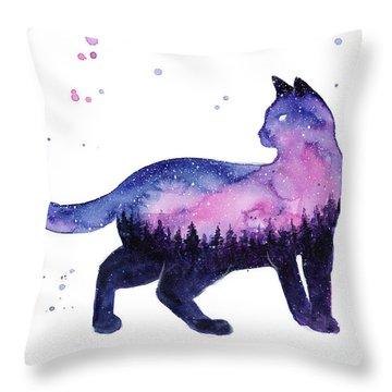 Galaxy Forest Cat Throw Pillow