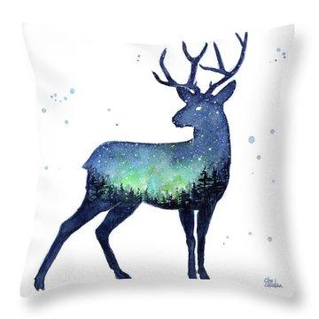 Galaxy Reindeer Silhouette Throw Pillow