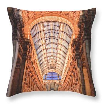 Galleria Vittorio Emanuele II Milan Italy By Night Throw Pillow