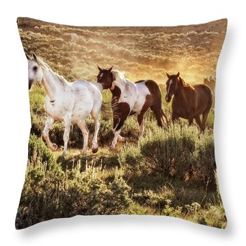 Galloping Down The Mountain Throw Pillow