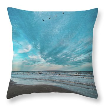 Throw Pillow featuring the photograph Galveston Island First Light by Jeff Phillippi