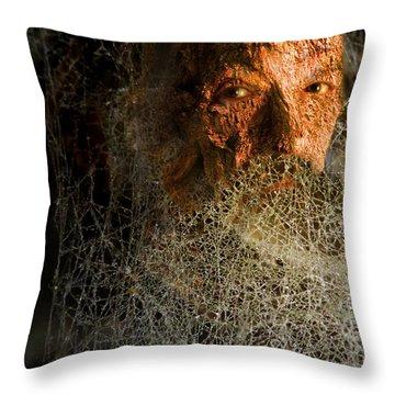 Throw Pillow featuring the digital art Gandalf - Cobwebby Self-portrait by Attila Meszlenyi