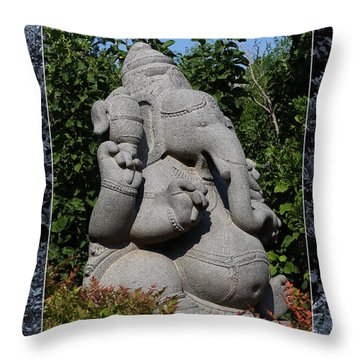Throw Pillow featuring the photograph Ganesha In The Garden by Debi Dalio