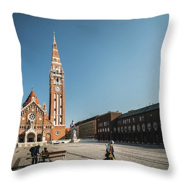 Garbage Cleaners On Dom Square In Szeged  Throw Pillow