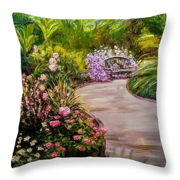 Path To The Garden Bench At Evergreen Arboretum Throw Pillow