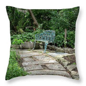 Throw Pillow featuring the photograph Garden Bench by Dale Kincaid