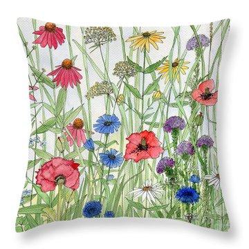 Garden Flower Medley Watercolor Throw Pillow