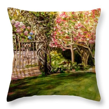 Garden Gate At Evergreen Arboretum Throw Pillow