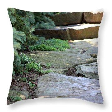 Garden Landscape - Stone Stairs Throw Pillow