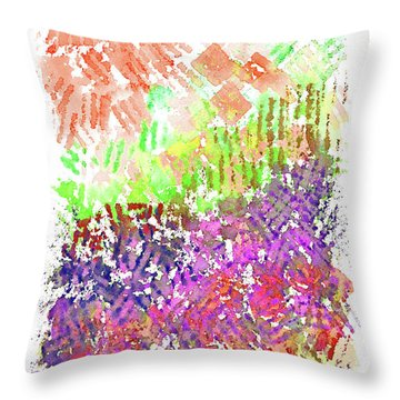 Garden Of Orange And Pink Throw Pillow