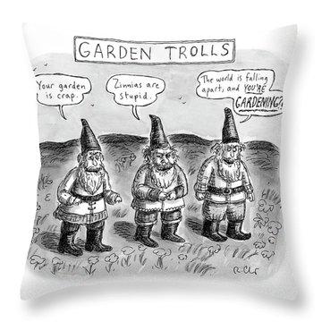 Garden Trolls Throw Pillow