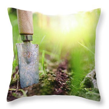 Gardening Shovel In An Orchard During The Gardener's Rest Throw Pillow