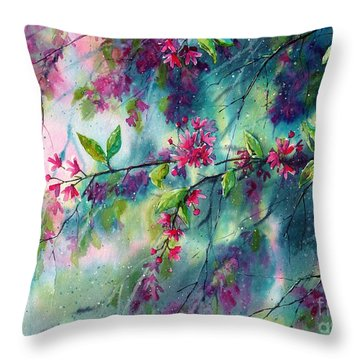 Garlands Full Of Flowers Throw Pillow