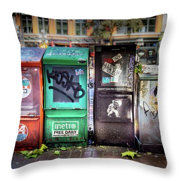 Gastown Street Newsstand Throw Pillow