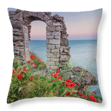 Gate In The Poppies Throw Pillow