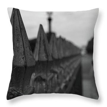 Throw Pillow featuring the photograph Gate, Person by Edward Lee