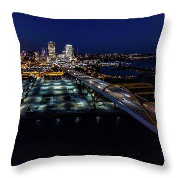 Throw Pillow featuring the photograph Gateway To Milwaukee by Randy Scherkenbach