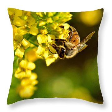 Gathering Pollen Throw Pillow