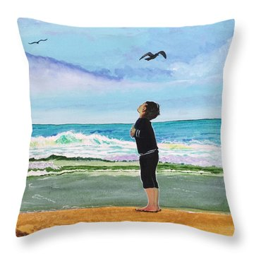 Gazing At Gulls Throw Pillow