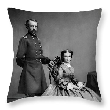 General Custer And His Wife Libbie Throw Pillow
